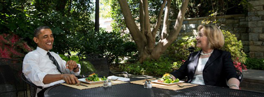 President Obama and Hillary Clinton at lunch July 29